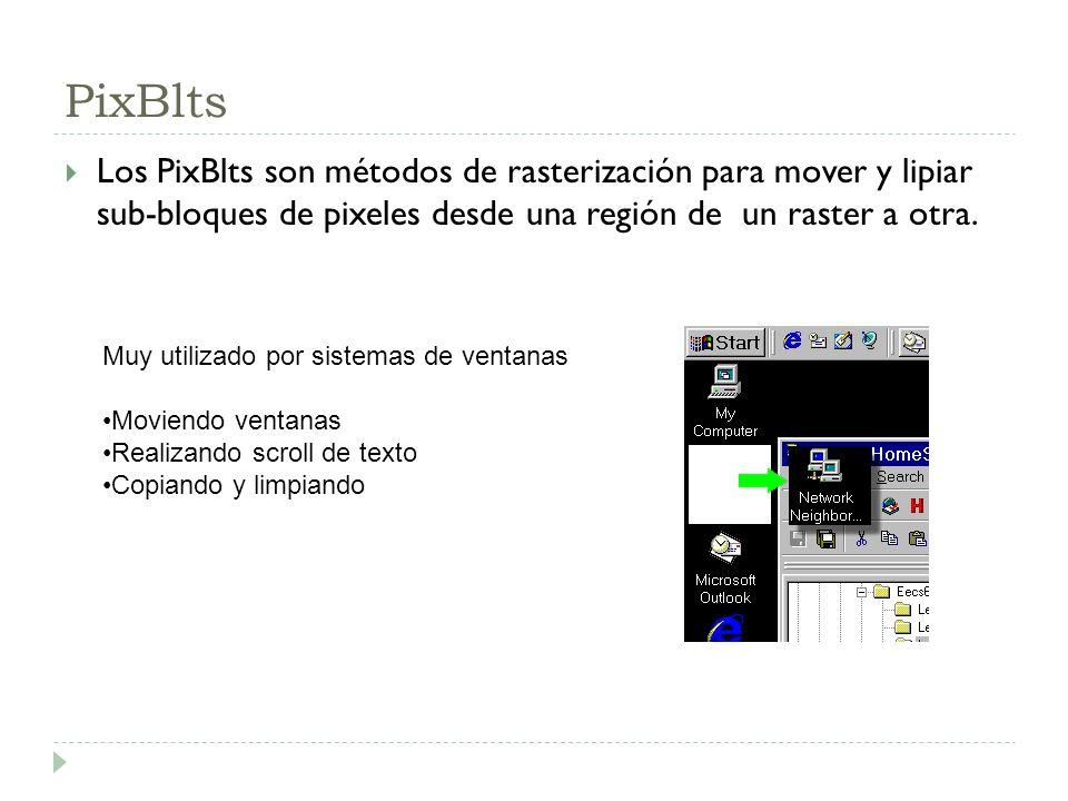 PixBlts Los PixBlts son métodos de rasterización para mover y lipiar sub-bloques de pixeles desde una región de un raster a otra.