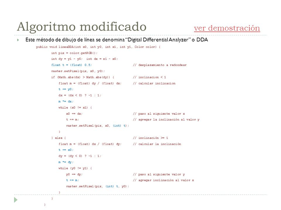 Algoritmo modificado ver demostración
