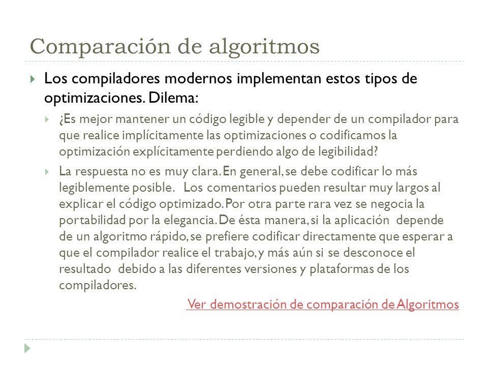 Comparación de algoritmos
