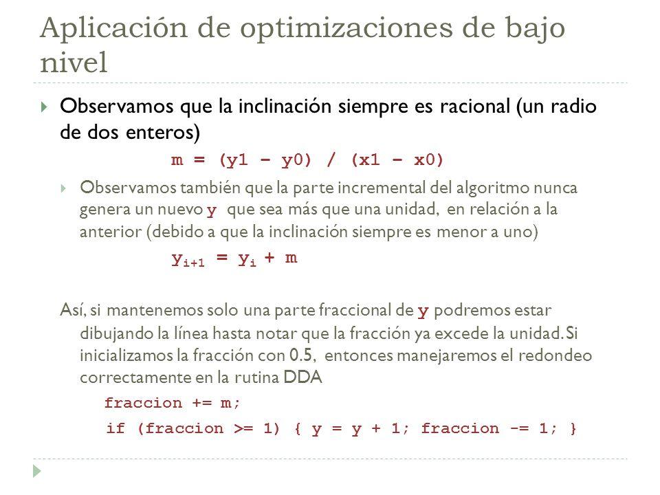 Aplicación de optimizaciones de bajo nivel