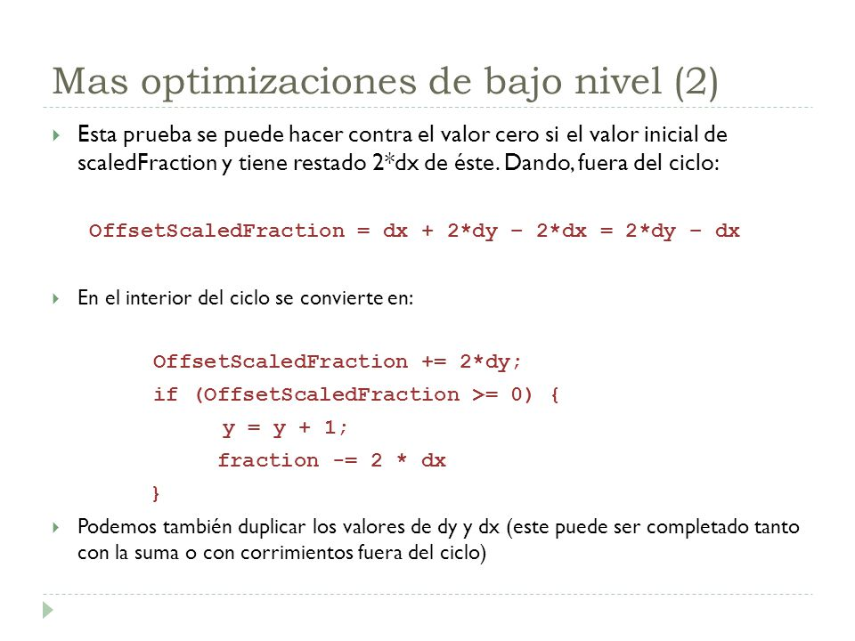 Mas optimizaciones de bajo nivel (2)