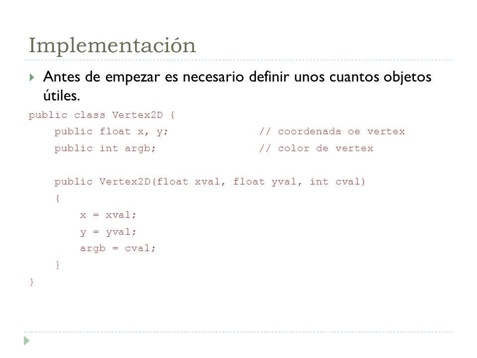 Implementación Antes de empezar es necesario definir unos cuantos objetos útiles. public class Vertex2D {