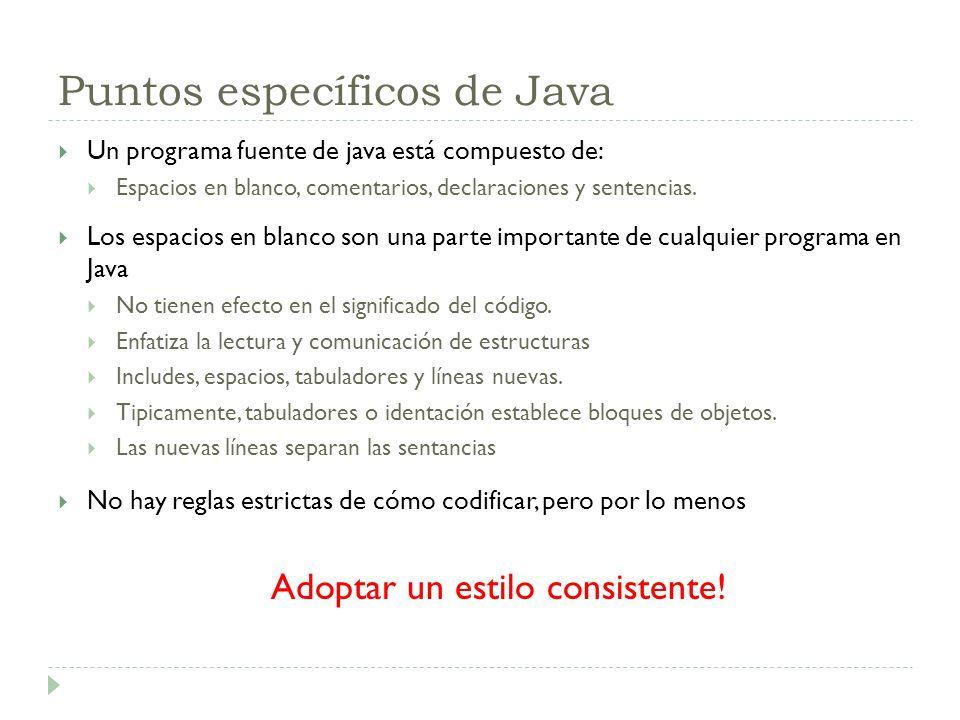 Puntos específicos de Java