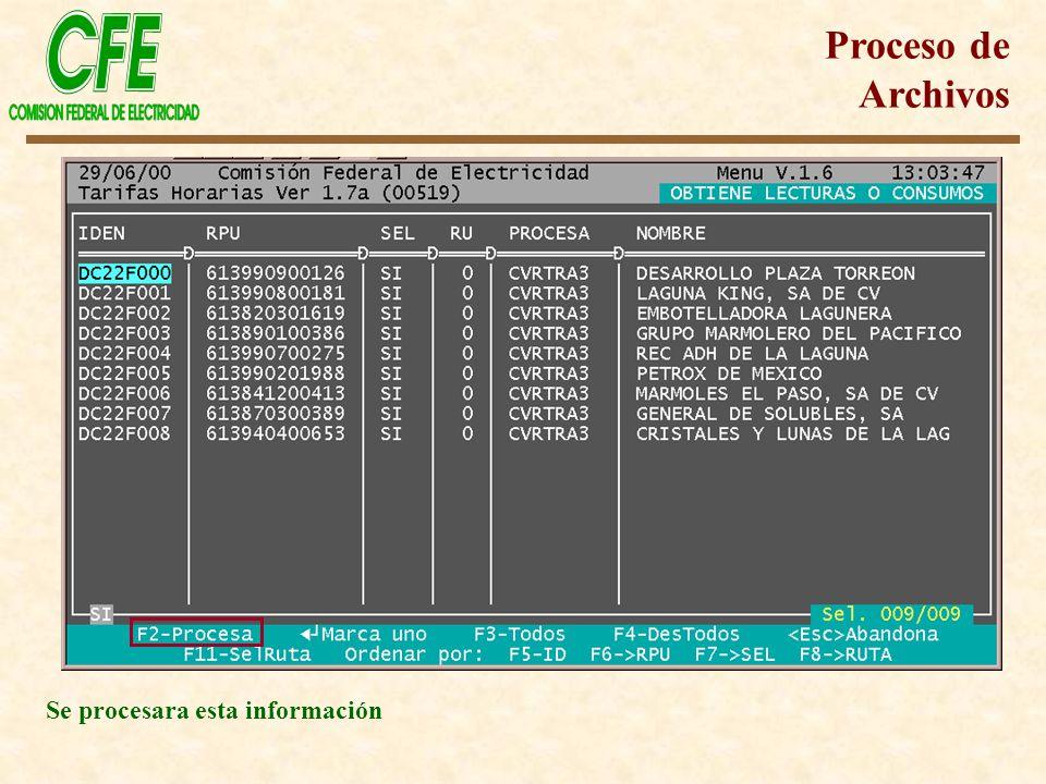 Proceso de Archivos Se procesara esta información