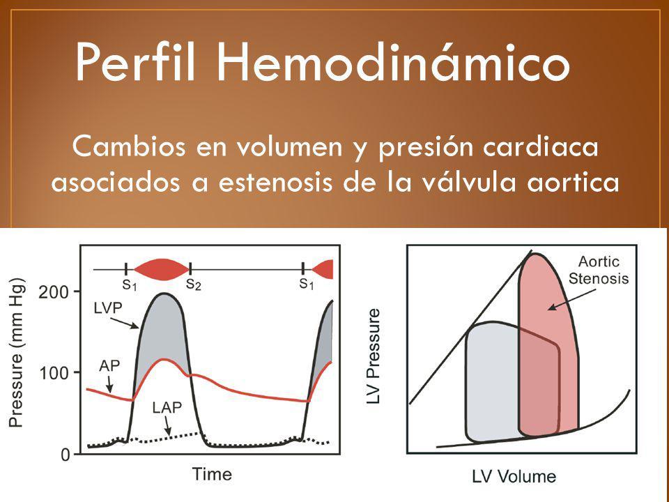 Perfil Hemodinámico Cambios en volumen y presión cardiaca asociados a estenosis de la válvula aortica.