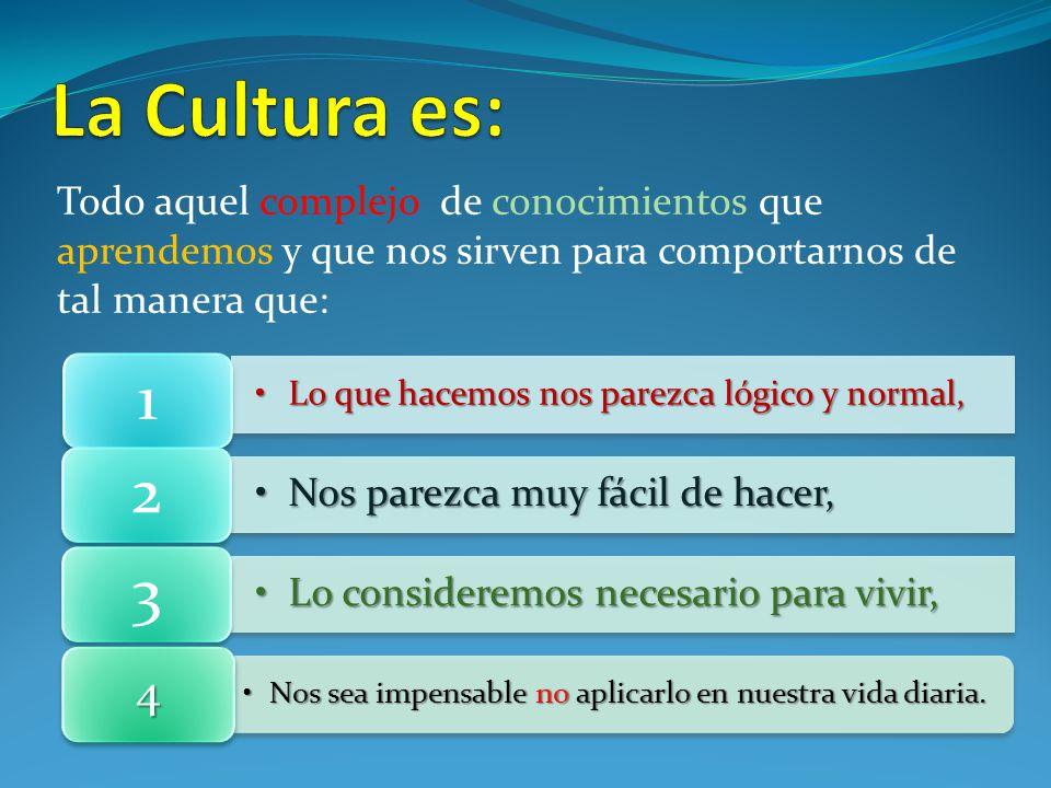 La Cultura es: 1 2 3 4 Nos parezca muy fácil de hacer,