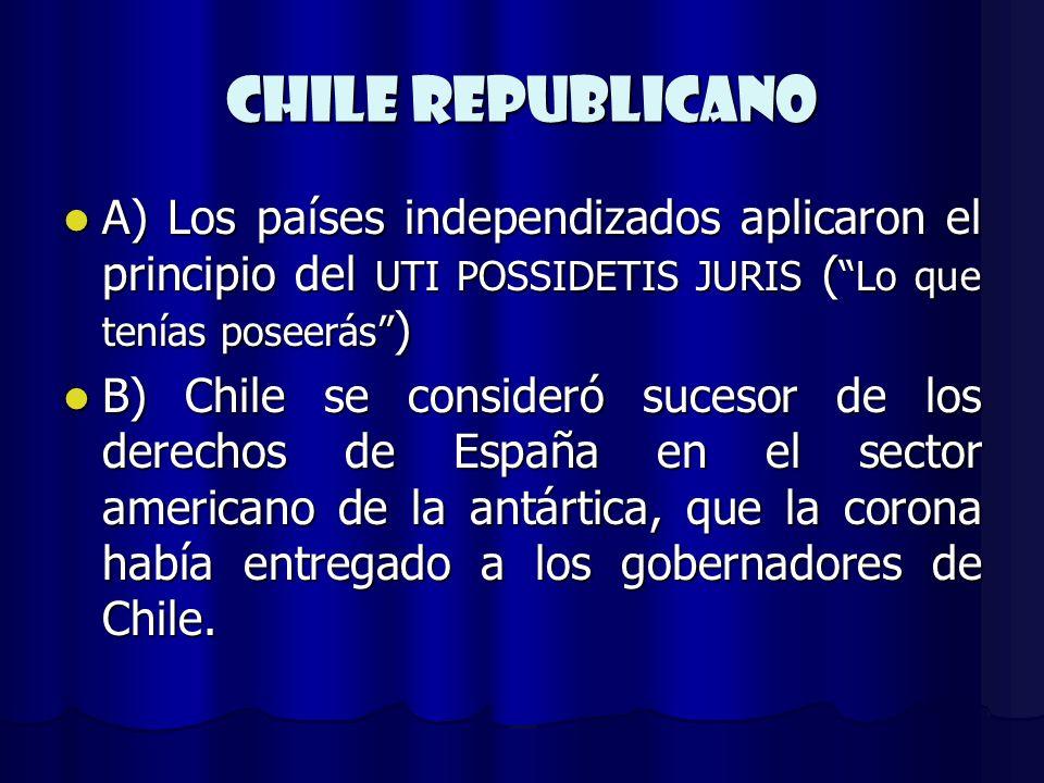 CHILE REPUBLICANO A) Los países independizados aplicaron el principio del UTI POSSIDETIS JURIS ( Lo que tenías poseerás )