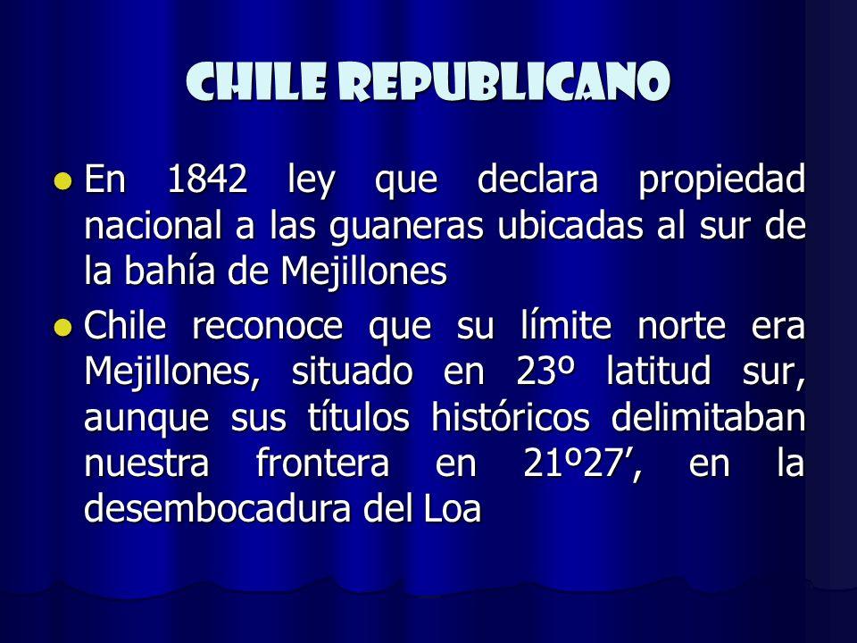 CHILE REPUBLICANO En 1842 ley que declara propiedad nacional a las guaneras ubicadas al sur de la bahía de Mejillones.