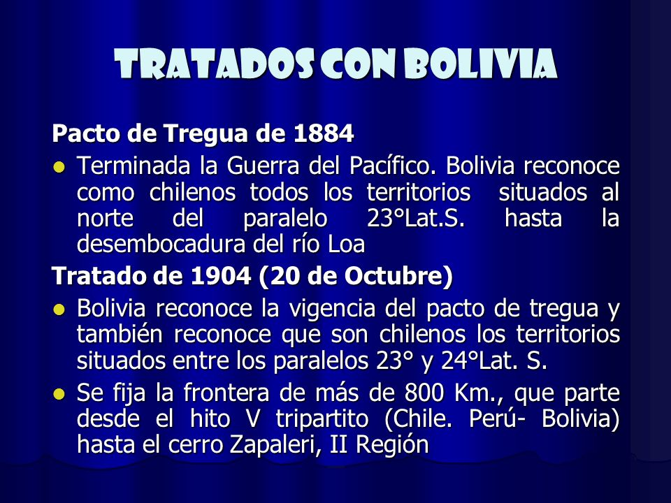 TRATADOs CON BOLIVIA Pacto de Tregua de 1884