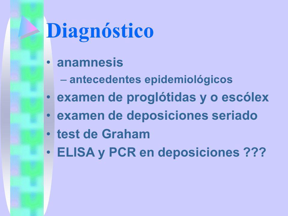 Diagnóstico anamnesis examen de proglótidas y o escólex