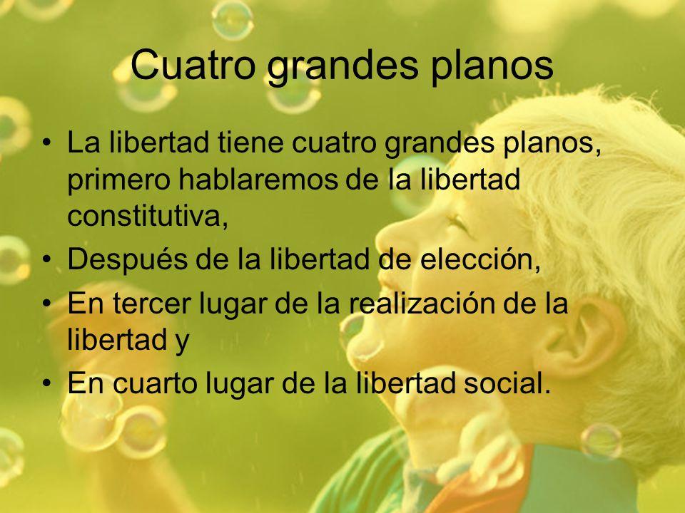 Cuatro grandes planos La libertad tiene cuatro grandes planos, primero hablaremos de la libertad constitutiva,