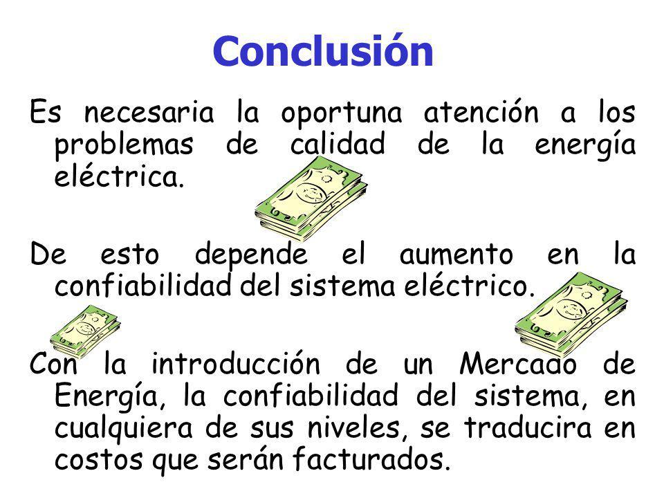 Conclusión Es necesaria la oportuna atención a los problemas de calidad de la energía eléctrica.