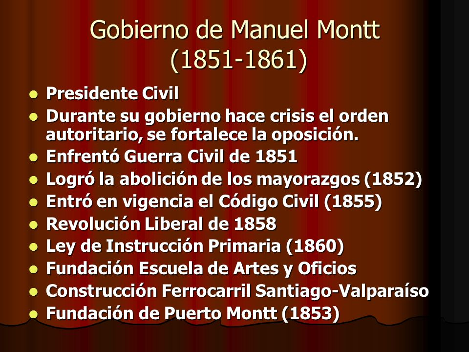 Gobierno de Manuel Montt (1851-1861)