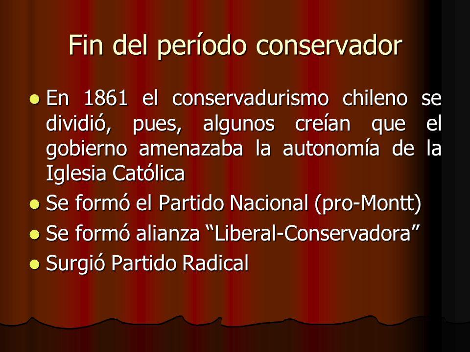 Fin del período conservador