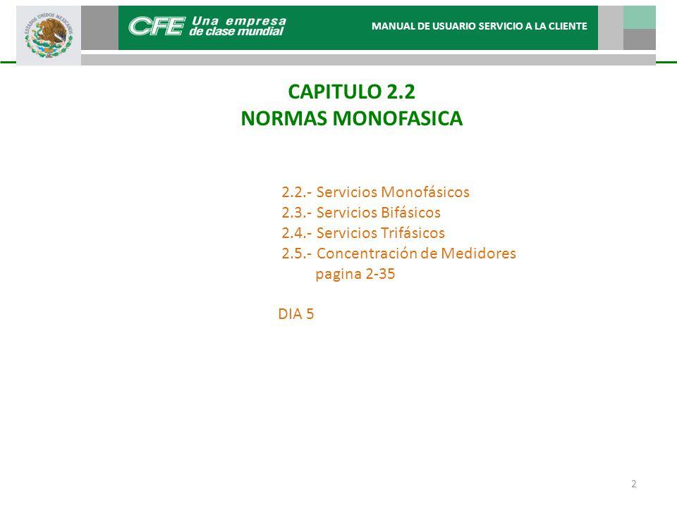 CAPITULO 2.2 NORMAS MONOFASICA