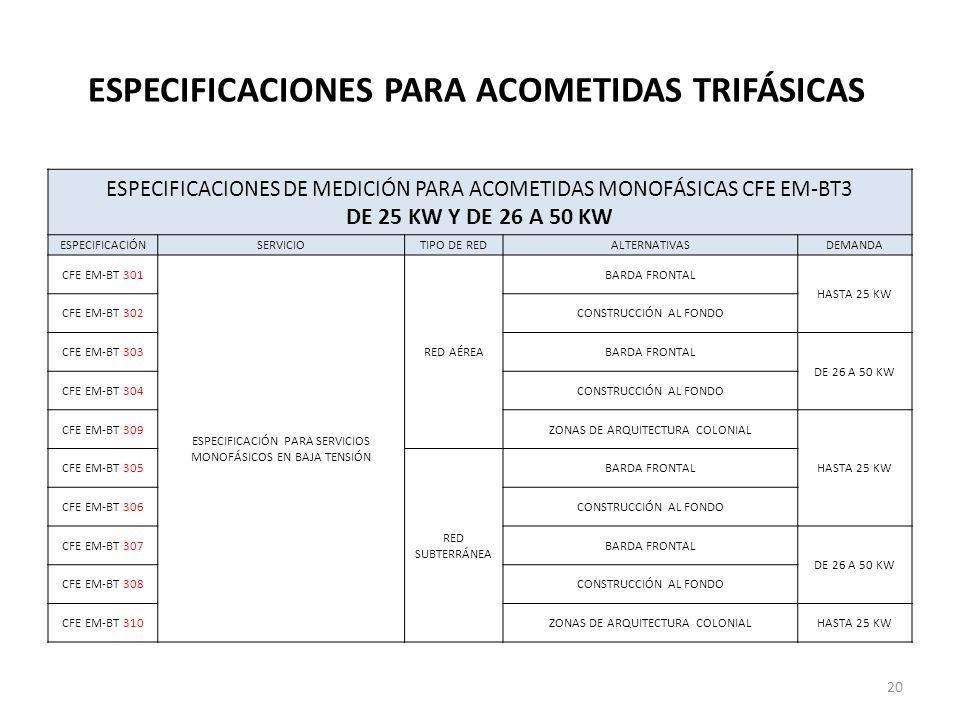 ESPECIFICACIONES PARA ACOMETIDAS TRIFÁSICAS