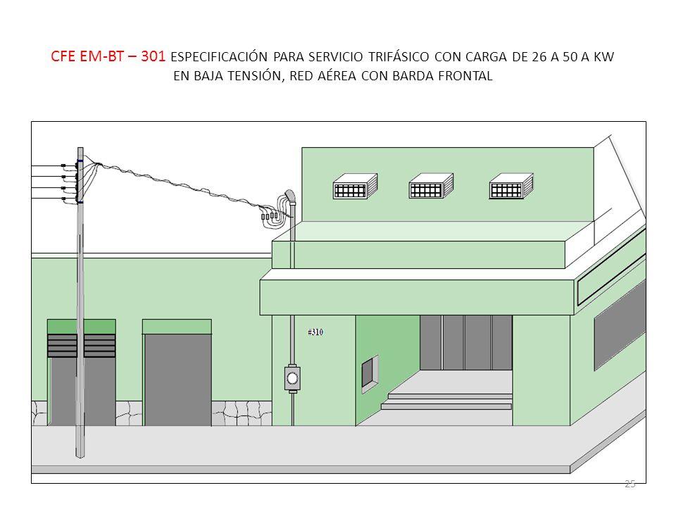 CFE EM-BT – 301 ESPECIFICACIÓN PARA SERVICIO TRIFÁSICO CON CARGA DE 26 A 50 A KW EN BAJA TENSIÓN, RED AÉREA CON BARDA FRONTAL