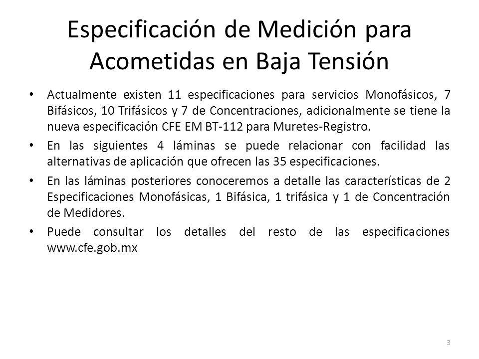 Especificación de Medición para Acometidas en Baja Tensión