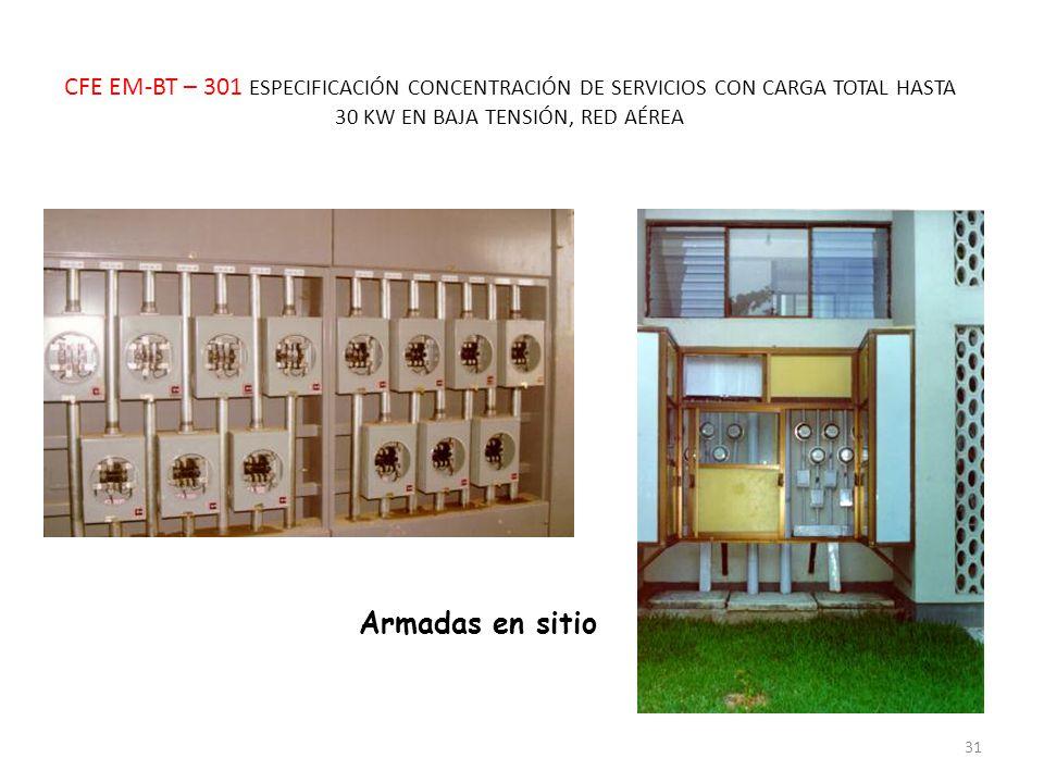 CFE EM-BT – 301 ESPECIFICACIÓN CONCENTRACIÓN DE SERVICIOS CON CARGA TOTAL HASTA 30 KW EN BAJA TENSIÓN, RED AÉREA