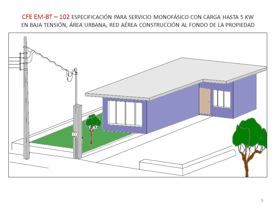 CFE EM-BT – 102 ESPECIFICACIÓN PARA SERVICIO MONOFÁSICO CON CARGA HASTA 5 KW EN BAJA TENSIÓN, ÁREA URBANA, RED AÉREA CONSTRUCCIÓN AL FONDO DE LA PROPIEDAD