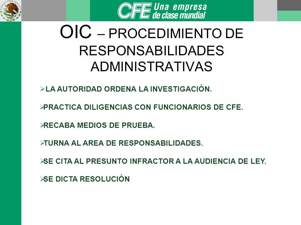 OIC – PROCEDIMIENTO DE RESPONSABILIDADES ADMINISTRATIVAS