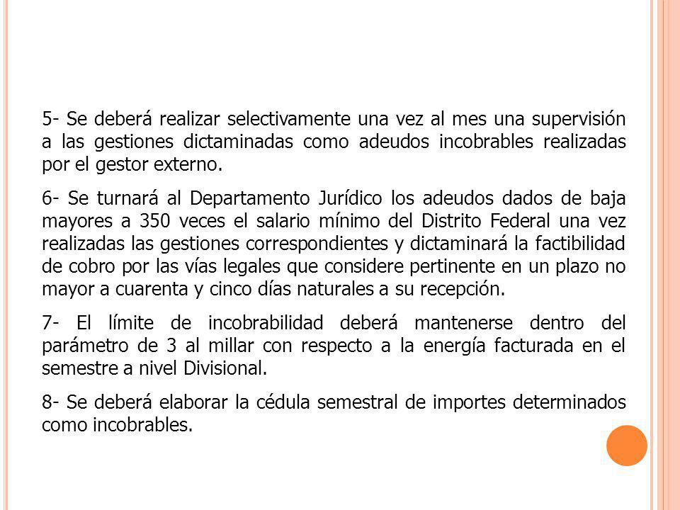 5- Se deberá realizar selectivamente una vez al mes una supervisión a las gestiones dictaminadas como adeudos incobrables realizadas por el gestor externo.