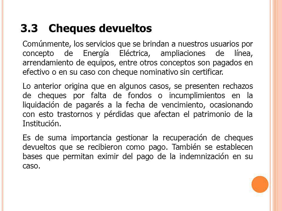 3.3 Cheques devueltos