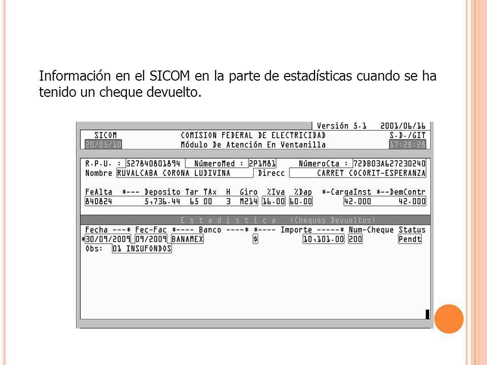 Información en el SICOM en la parte de estadísticas cuando se ha tenido un cheque devuelto.