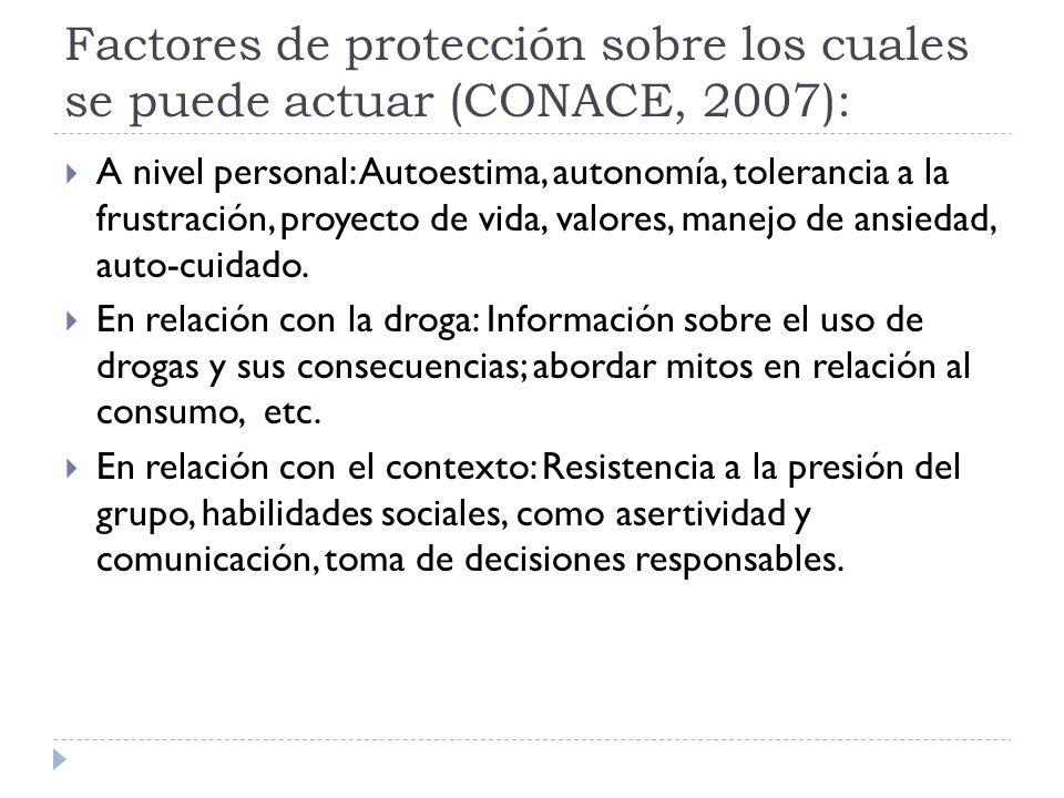 Factores de protección sobre los cuales se puede actuar (CONACE, 2007):