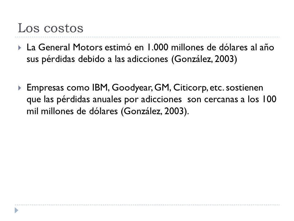 Los costos La General Motors estimó en 1.000 millones de dólares al año sus pérdidas debido a las adicciones (González, 2003)
