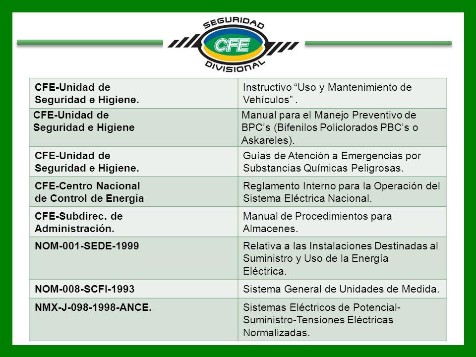 CFE-Unidad de Seguridad e Higiene. Instructivo Uso y Mantenimiento de Vehículos . Seguridad e Higiene.
