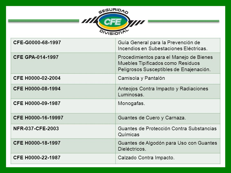 CFE-G0000-68-1997 Guía General para la Prevención de Incendios en Subestaciones Eléctricas. CFE GPA-014-1997.