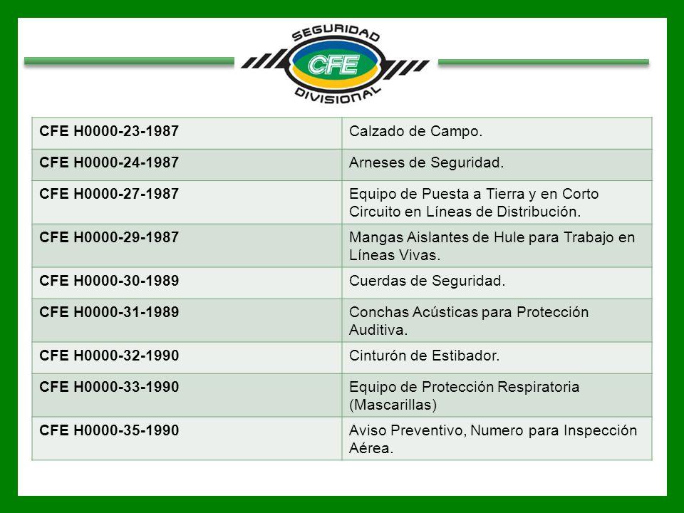 CFE H0000-23-1987 Calzado de Campo. CFE H0000-24-1987. Arneses de Seguridad. CFE H0000-27-1987.
