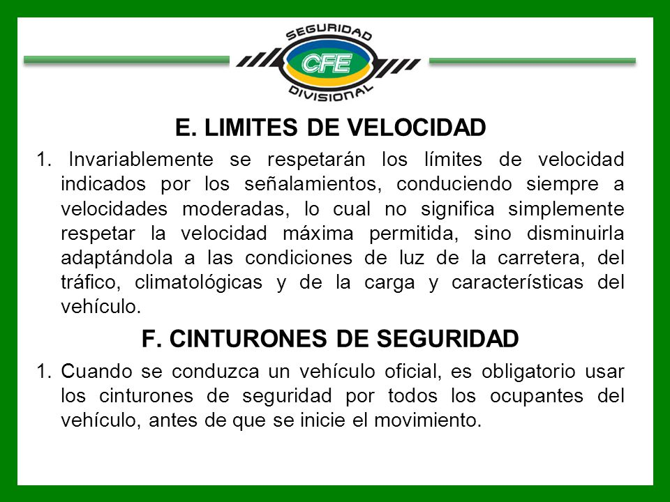 F. CINTURONES DE SEGURIDAD
