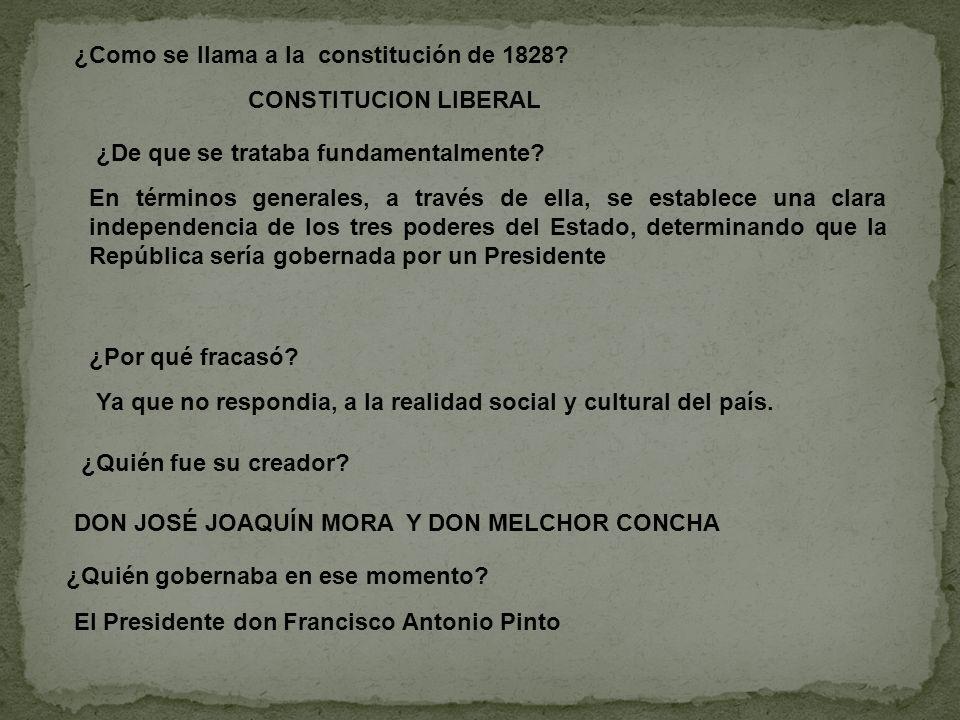¿Como se llama a la constitución de 1828