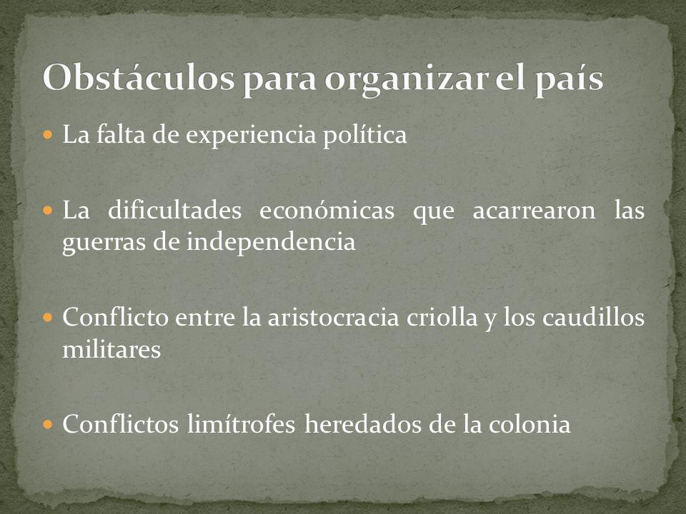 Obstáculos para organizar el país