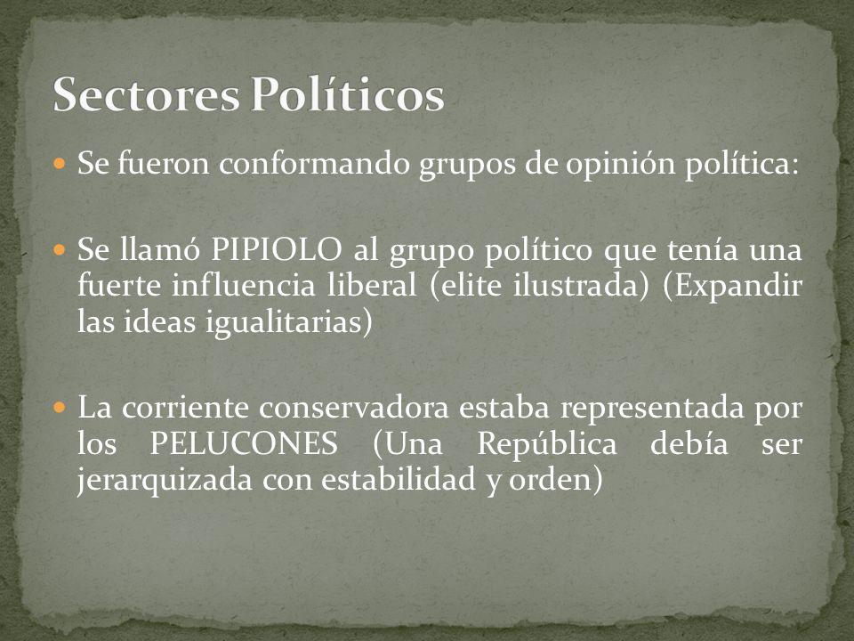 Sectores Políticos Se fueron conformando grupos de opinión política: