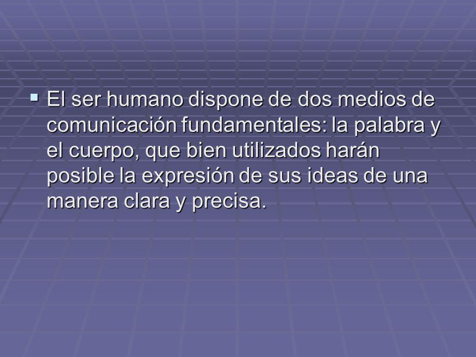 El ser humano dispone de dos medios de comunicación fundamentales: la palabra y el cuerpo, que bien utilizados harán posible la expresión de sus ideas de una manera clara y precisa.