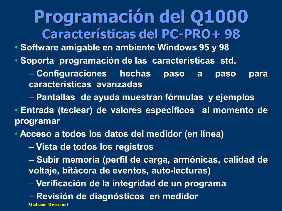 Programación del Q1000 Características del PC-PRO+ 98