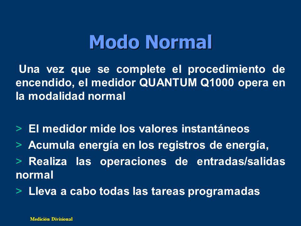 Modo Normal Una vez que se complete el procedimiento de encendido, el medidor QUANTUM Q1000 opera en la modalidad normal.