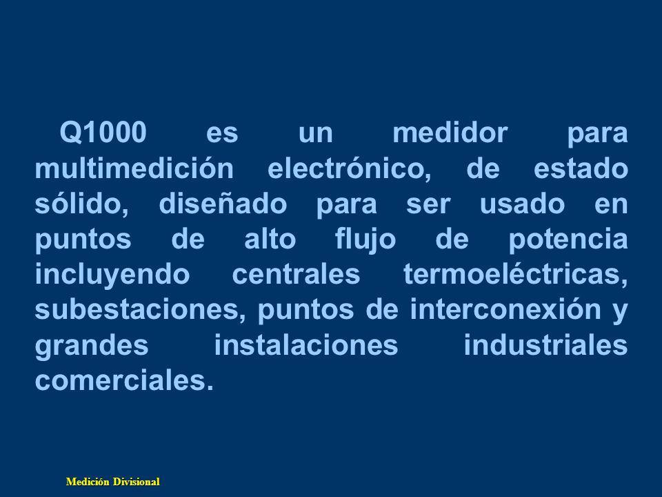 Q1000 es un medidor para multimedición electrónico, de estado sólido, diseñado para ser usado en puntos de alto flujo de potencia incluyendo centrales termoeléctricas, subestaciones, puntos de interconexión y grandes instalaciones industriales comerciales.