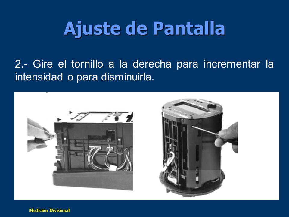 Ajuste de Pantalla 2.- Gire el tornillo a la derecha para incrementar la intensidad o para disminuirla.