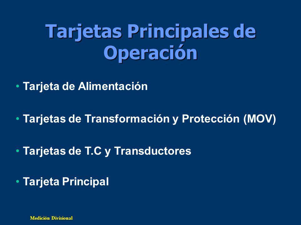Tarjetas Principales de Operación