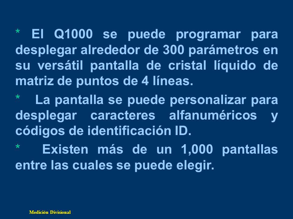 El Q1000 se puede programar para desplegar alrededor de 300 parámetros en su versátil pantalla de cristal líquido de matriz de puntos de 4 líneas.