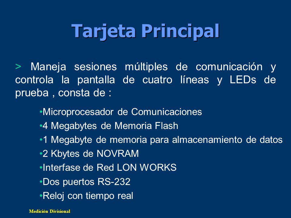 Tarjeta Principal Maneja sesiones múltiples de comunicación y controla la pantalla de cuatro líneas y LEDs de prueba , consta de :