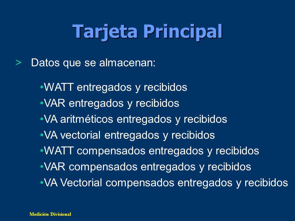 Tarjeta Principal Datos que se almacenan: WATT entregados y recibidos