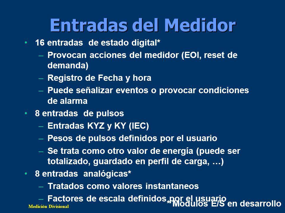 Entradas del Medidor 16 entradas de estado digital*