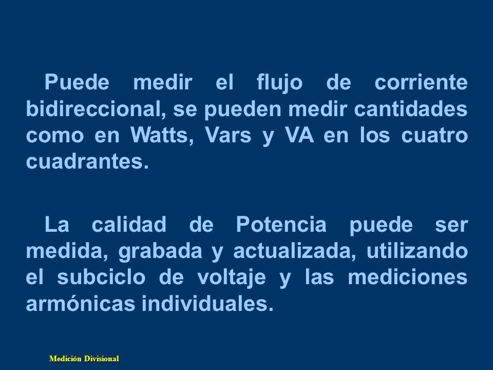 Puede medir el flujo de corriente bidireccional, se pueden medir cantidades como en Watts, Vars y VA en los cuatro cuadrantes.