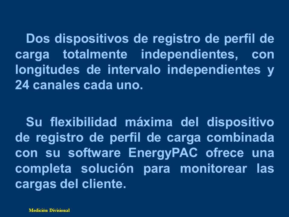 Dos dispositivos de registro de perfil de carga totalmente independientes, con longitudes de intervalo independientes y 24 canales cada uno.