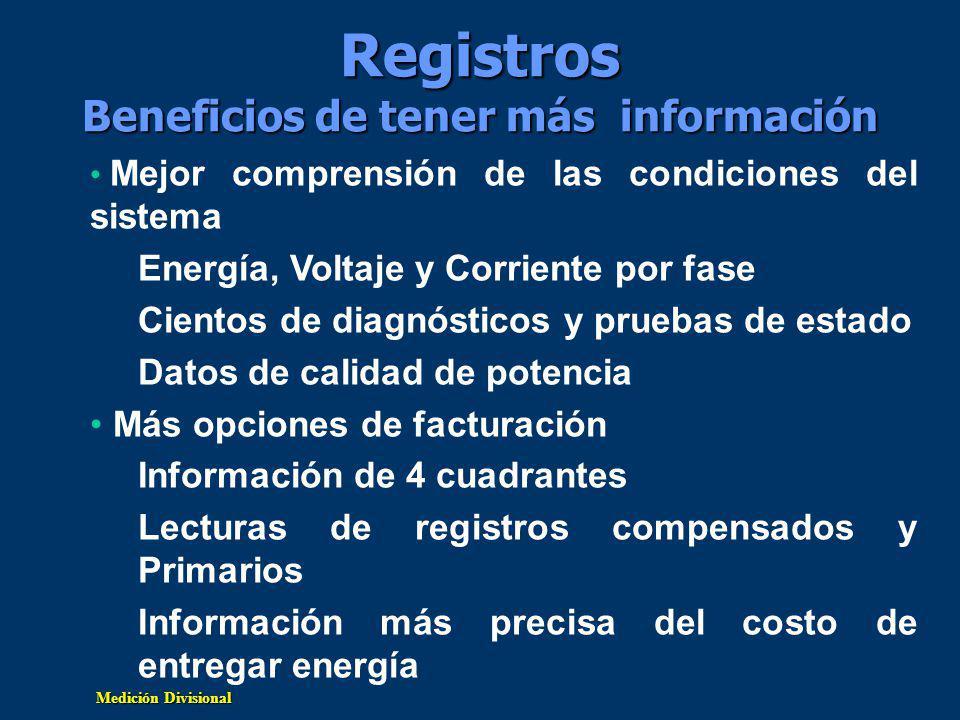 Registros Beneficios de tener más información